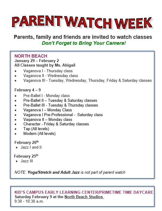 updated parent watch week